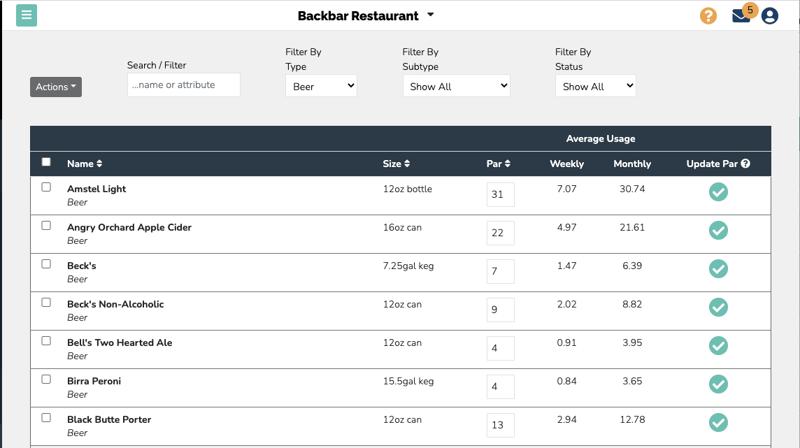 Screenshot of the par level management screen in the Backbar inventory software