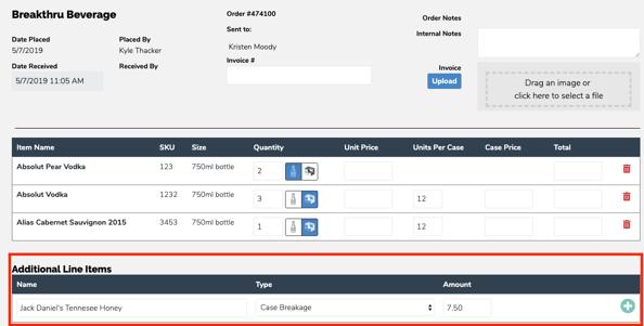Additional Line Item Fees for Backbar Orders
