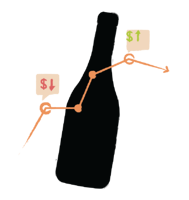 Illustration of wine bottle with pricing chart overlayed
