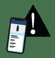 Illustration of Backbar mobile app and alert symbol