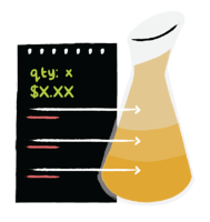Illustration of a chart with lines pointing to a beaker filled with different liquids