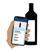 Illustration of Backbar inventory app and liquor bottle