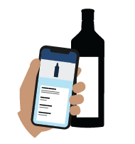 Illustration of wine bottle and Backbar inventory app Shift Notes feature