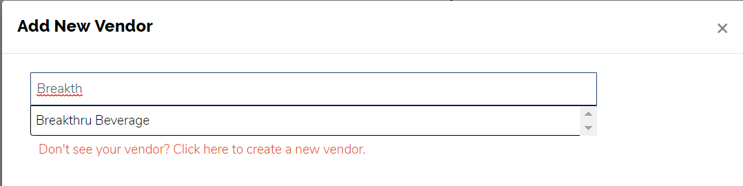 Manage Vendors - Search