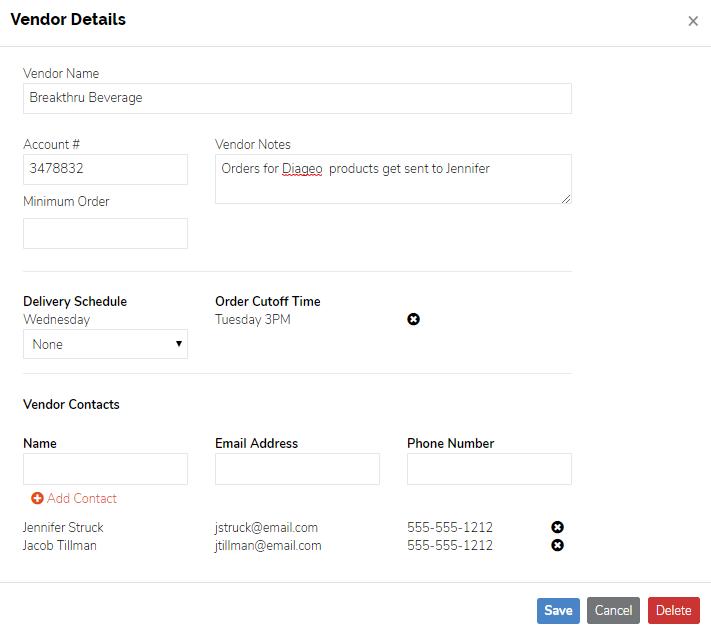 Manage Vendors - Vendor Details