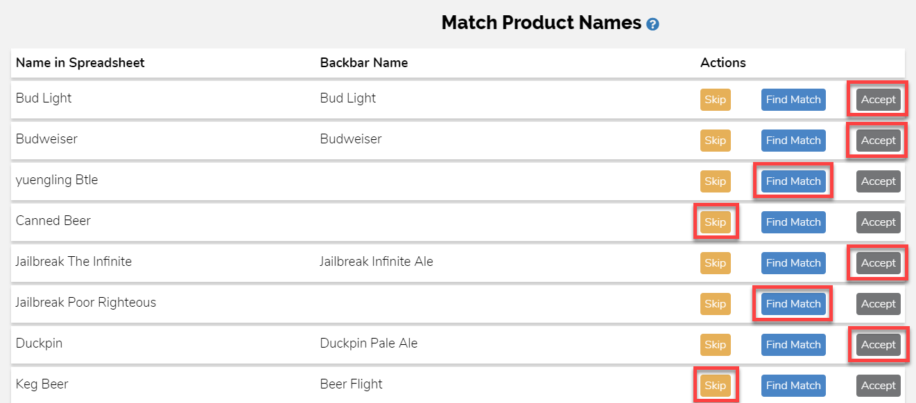 Match Products Example