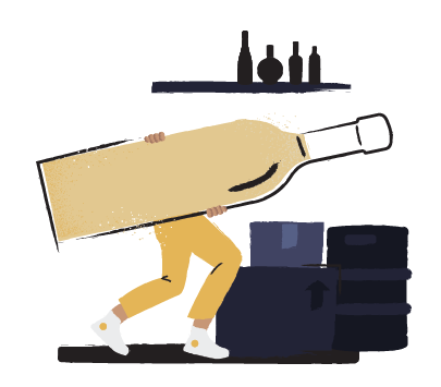 Illustration of a person carrying an oversized liquor bottle