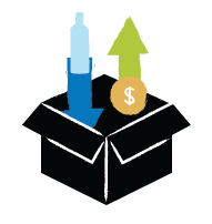 Illustration of a box with liquor bottle going in and a dollar sign coming out