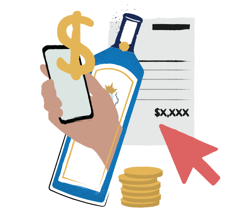Illustration of liquor bottle, iphone, and dollar sign