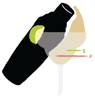 Illustration of cocktail shaker and lime