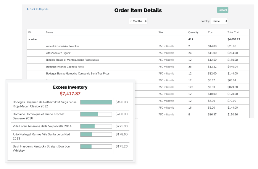 Screenshots of Backbar inventory app's excess inventory view overlaid on Order Item Details review