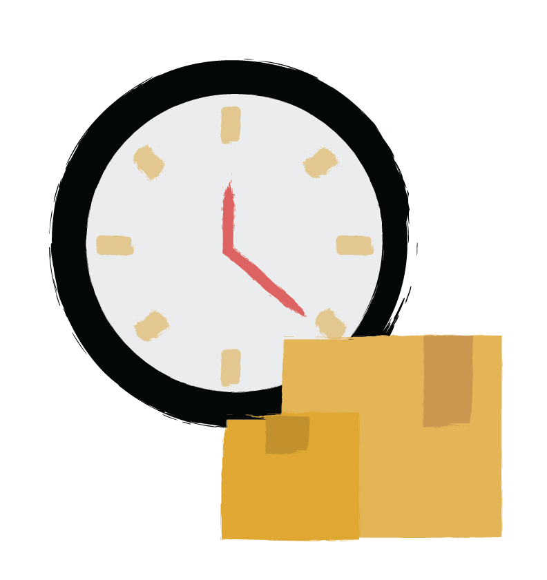 Illustration of a clock and delivery packages