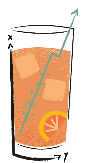 Illustration of paloma cocktail in collins glass